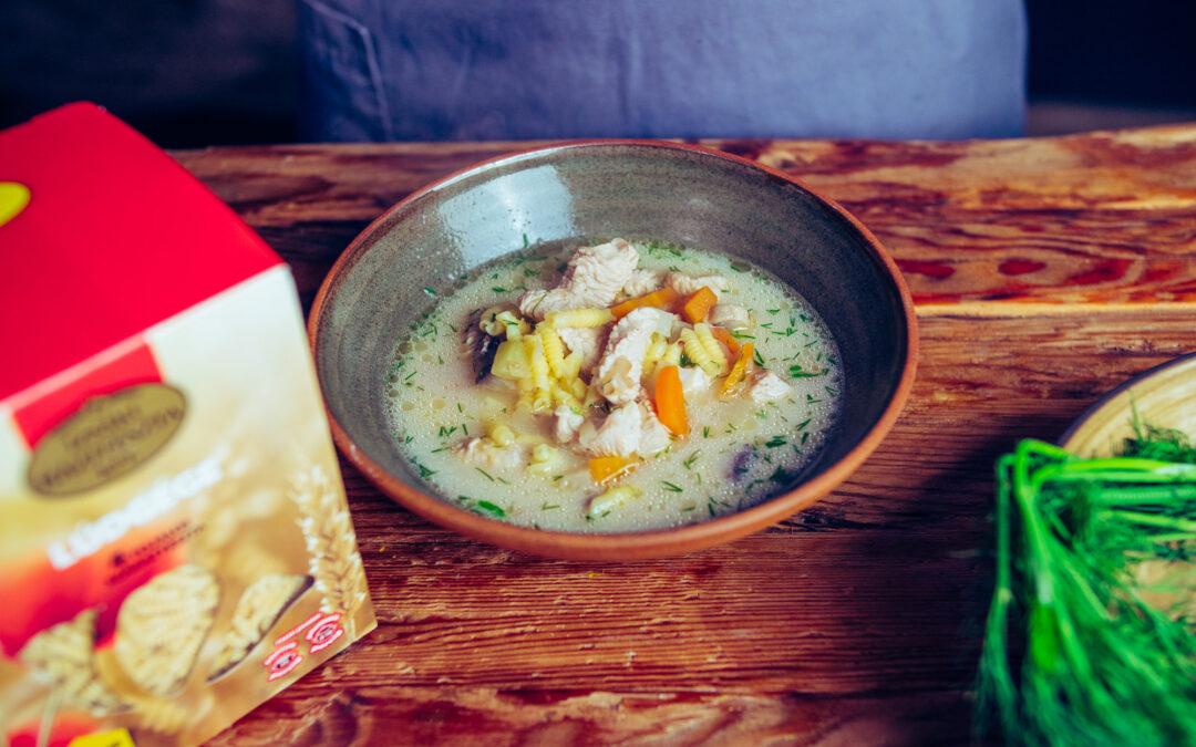 Gombás pulykaragu leves Izsáki Lúdgége tésztával